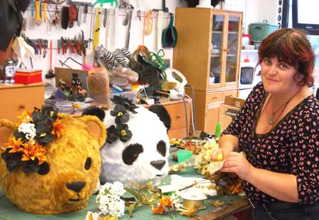 Bev Shalts mask maker panda teddy bear heads