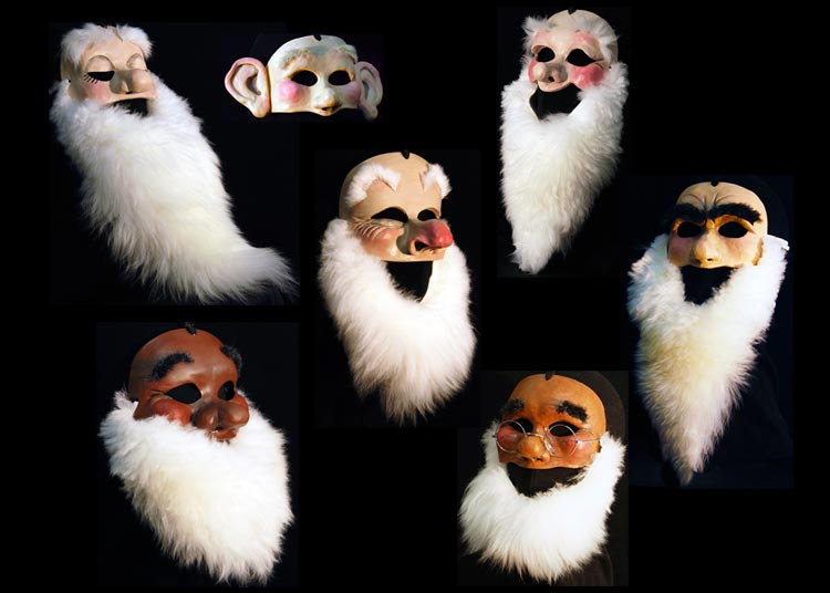 snow white pantomime ballet 7 dwarf masks costume grumpy, happy, sneezy, bashful, dopey, doc,