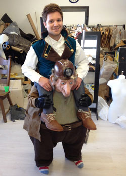 steampunk gnome piggyback costume made by Tentacle Studio