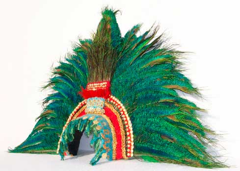 Montezuma Inca Aztec gold headdress feathers peacock