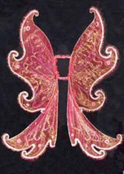 large pink fairy elf wings with glitter