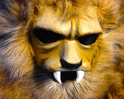 lion mask head fake faux fur