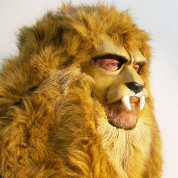fur lion head costume mask yellow african animal
