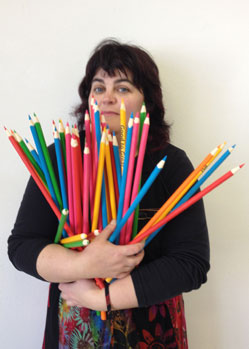 large pencils prop Bev Shalts