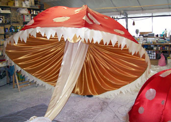 giant alice in wonderland mushroom puppets theme