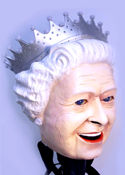 Queen elizabeth big paper mache head portrait