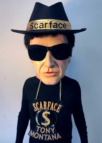 scarface big head gangster carnival paper mache mask makers Tentacle Studio