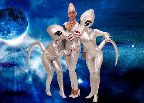 space alien sexy android metal costume