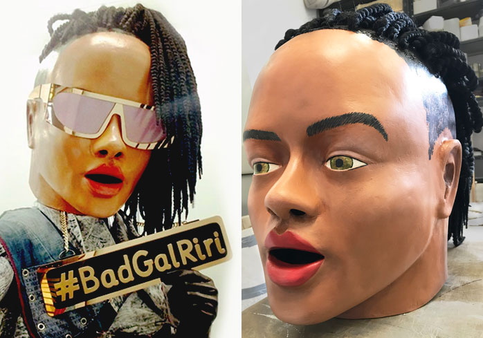 giant big head mask paper mache Rihanna made by Tentacle Studio