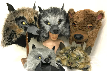 wolf hyena bear Jungle book headdress hat costumes adult child